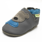 Sayoyo Baby Infant Toddler Grey Bear Soft Sole Leather Shoes 0-6months Grey