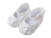 Femizee Newborn Baby Girls Toddlers First Walking Shoes White Flower 3-6 Months