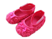Femizee Newborn Baby Girls Toddlers First Walking Shoes Hot Pink Small Flower 6-9 Months