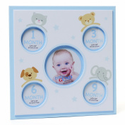 Gund Baby Baby's First Year Five Opening Photo Frame, White and Blue