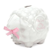 Ceramic Baby Lamb Bank with Pink Girl Scripture - The Lord Is My Shepherd