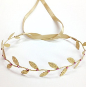 Gold Leaf Wrap with Pink. rhinestones