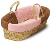 Baby Doll Bedding Minky Dots Moses Basket, Chocolate/Pink