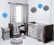 Ikat White/Grey 4 Crib set with 2 Muslin Blanket