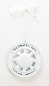 9.5cm Resin Baby Baptism Cradle Medal - Matthew 28:20 Scripture