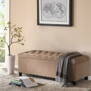 Madison Park Shandra Bench Storage Ottoman with Tufted Top - Sand - 50.3W x19.29Dx18.89H""