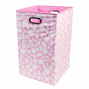 Modern Littles Rose Folding Laundry Basket, Pink Giraffe