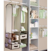 Beige Baby Nursery Hanging Closet Storage Organiser Bin Spacesaving Drawer Set