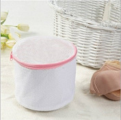 Liroyal Bra Wash Laundry Portable Mesh Bag with Plastic Frame Construction cylinder White colour