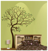 1.8m Tree Brown & Green with Bird Wall Decal Deco Art Sticker Mural - This Decal is Created By Digiflare Graphics, Original Product with Quality 100% Guaranteed!!!