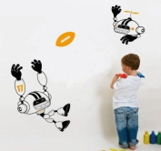 Free Will Football(Orange) Robot Sports Boys' Room Wall Sticker Decals Home Decor