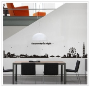 Free Will I Love Wonderful Night Quote City Scene Ferris Wheel Wide Black Building Wall Decal Sticker Home decor