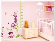 Good Life Morning Glory Purple Flowers Little Children Measurement Growth Chart (60-180cm) Wall Sticker for Kids Room