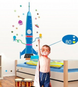 Good Life Big Blue Rocket Measurement Height Chart with Stars and UFO Super for Boys' Room Wall Decal Sticker