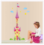 Good Life 180cm Tall Colourful Castle with Flag Wall Sticker Super for Girls' Room Wall Decor