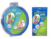 Potette Plus Travel Potty includes EXTRA 10-Pack of Liners, Blue