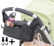 Baby Stroller Organiser with Cup Holder Pockets. Including Two Hooks for Accessories.