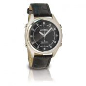 Reizen Talking Atomic Watch- Blk Face-Chips-Leath