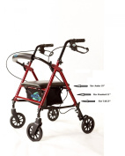 Rollator Lightweight Aluminium Loop Brake Walker W/height Adjustable Seat By Legs and Arms w/ 15cm Wheelss