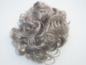 HAIR EXTENSIONS CURLY OR MESSY DRAWSTRING UPDO FULL BUN IN OUR FAMOUS SILVER GREY MIX