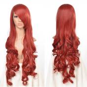 AGPtek 80cm Heat Resistant Curly Wavy Long Cosplay Wigs-Red