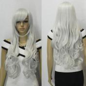 AGPtek 80cm Heat Resistant Curly Wavy Long Cosplay Wigs-Silver white