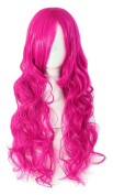 MapofBeauty 70cm Long Pink Wavy Cosplay Party Wig