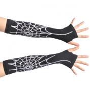 Nava New Sexy Black Spiderman Spider Web Long Arm Warmer Fingerless Halloween Costume Dress Gloves