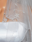 2T 2 Tier Flower Pearl Edge Petite Fingertip Length Bridal Wedding Veil VA5A3