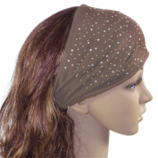 Sparkling Rhinestone and Dots Wide Elastic Headband - Brown