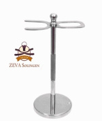 DELUXE STAINLESS STEEL STRAIGHT RAZOR & SHAVING BRUSH STAND FROM ZEVA