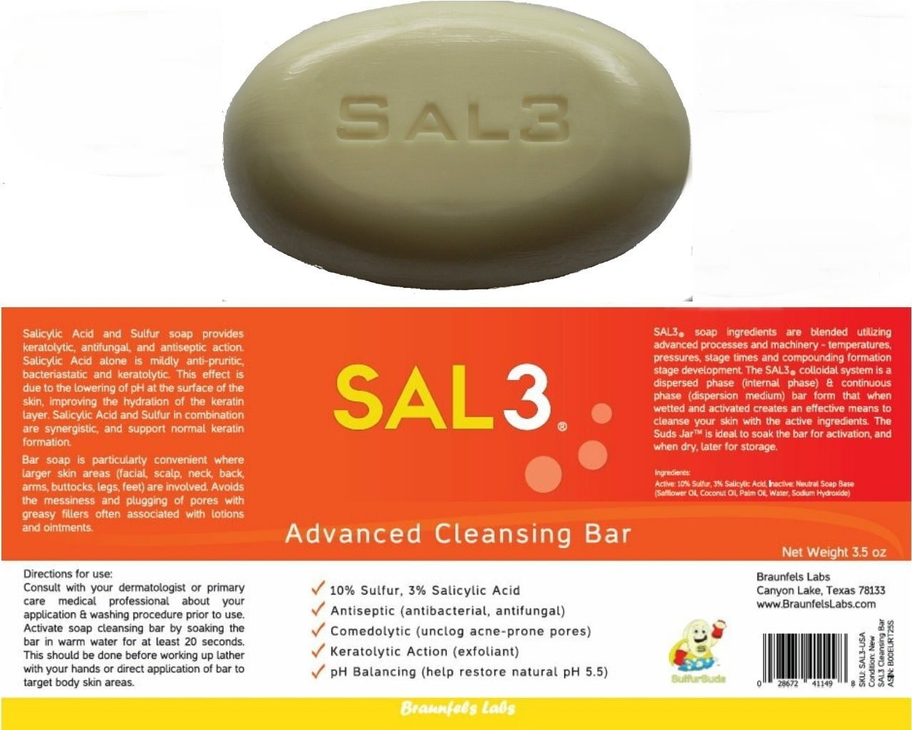 SAL3 Salicylic Acid Sulphur Soap Bar - Special Wash: Acne, Dandruff, Smelly  Scalp and Body,Tinea Versicolor, Oily Skin, Itch, Anti-fungal