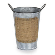 Set of 2- Vintage Look Metal French Market Buckets with a Burlap Label on the Front