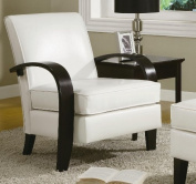 Roundhill Wonda Bonded Leather Accent Chair with Wood Arms, White