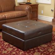 Best Selling Burlington Leather Storage Ottoman, Brown