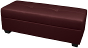 Epic Furnishings Leather Look Upholstered Tufted Padded Hinged Storage Ottoman Bench, 48 by 48cm by 46cm , Bordeaux
