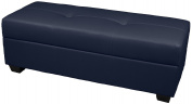 Epic Furnishings Leather Look Upholstered Tufted Padded Hinged Storage Ottoman Bench, 48 by 48cm by 46cm , Navy