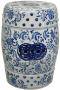 Oriental Furniture Traditional Asian Decor 46cm Blue and White Chinese Porcelain Garden Stool, Round with Floral Design