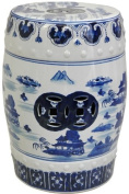 Oriental Furniture Authentic Oriental Decor Accent, 46cm Blue and White Chinese Porcelain Garden Stool, Round with Landscape Design