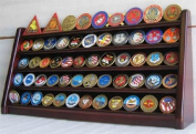 5 Rows Challenge Coin Holder Display Stand, Solid Wood, Mahogany Finish