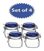 Bormioli Rocco Fido Square Jar with Blue Lid, 500ml