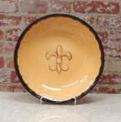 Tuscany Colourful Hand Painted Fleur De Lis Butterscotch Large Pasta Bowl Salad Fruit 33cm - 1.3cm W, 82099 by ACK