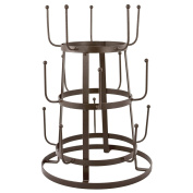 MyGift® Vintage Rustic Brown Iron Mug / Cup / Glass Bottle Organiser Tree Drying Rack Stand