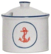 Porcelain Blue & White Nautical Anchor Sugar Bowl, Set of 2 - 240ml - 8.9cm H