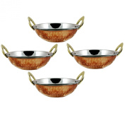 Indian Copper/Steel Serveware Karahi vegetable Dinner Bowl Set of 4