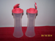 Tupperware Large Hourglass Salt & Pepper Shakers Clear With Watermelon Pink Tops