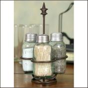 Colonial Tin Works Fleur de Lis Mason Jar Salt, Pepper and Toothpick Caddy