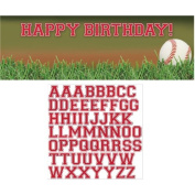 Baseball Fanatic Giant Happy Birthday Banner with Letter Stickers