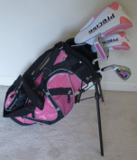 Left Handed Girls Junior Golf Club Set with Stand Bag for Kids Ages 3-6 Pink Colour LH Premium Professional Quality