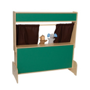 Natural Environments WD21650BN Chalkboard Puppet Theatre w/Brown Curtains